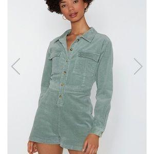 Corduroy army green romper jumpsuit, nasty gal